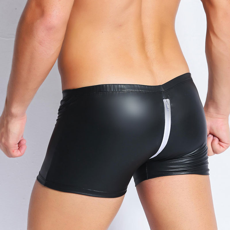 Сексуальное кольцо на пенис, большие размеры, боксеры на молнии, с открытым шаговым швом, из ПВХ, с кожаным ремешком, u-образная выпуклая сумка для геев, Эротическое нижнее белье F27