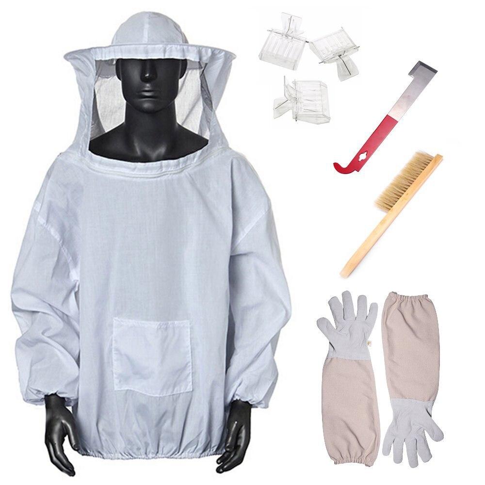 Juego de Herramientas de abeja Herramientas de apicultura de 7 piezas, guantes antiabejas blancos, cepillo rascador para abejas