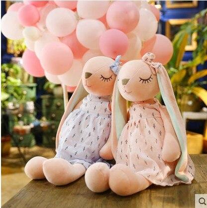 Nueva muñeca de conejo de juguete de felpa de moda conejo de orejas largas adorable dollsleep para niña almohada regalo de cumpleaños
