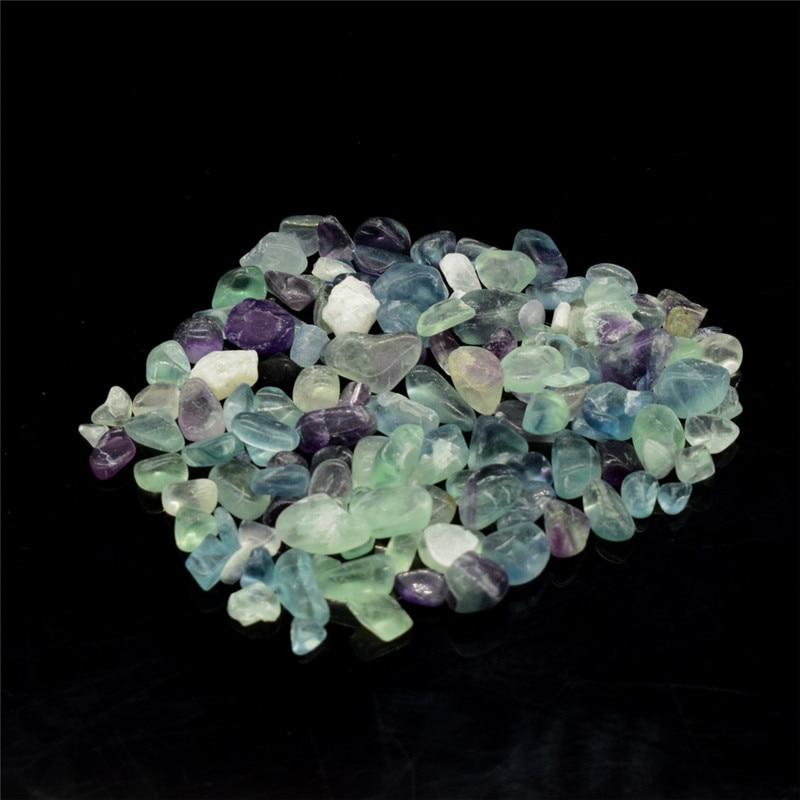 Mini piedra caída 100g Natural fluorita curación Reiki cuarzo cristal roca Chips jardín flor decorativa piedra Irregular