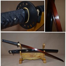 Japanese Samurai Katana Sword Folded Damascus Steel Black & Red Full Tang Blade Iron Tsuba Handmade Custom Sharp Kill Bill
