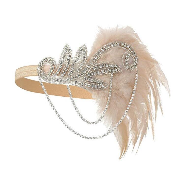 Los años 20 diadema disfraz Charleston accesorios desnudo aleta tocado gran Gatsby pluma diadema de cuentas cadena