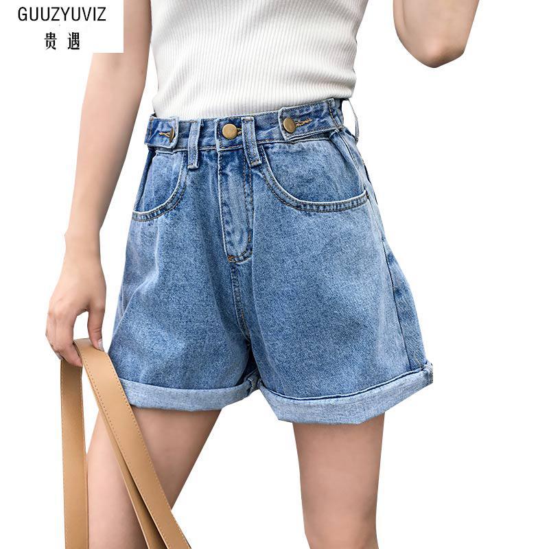 GUUZYUVIZ Plus Size Vintage Casual Button Cotton Washed High Waist Pants  Boyfriend Jeans For Women
