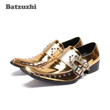 Batzuzhi Rock Men Shoes Western Gold Genuine Leather Dress Shoes Men Rivets Sepatu Pria Club Party Runway Dress Shoes Men, US12