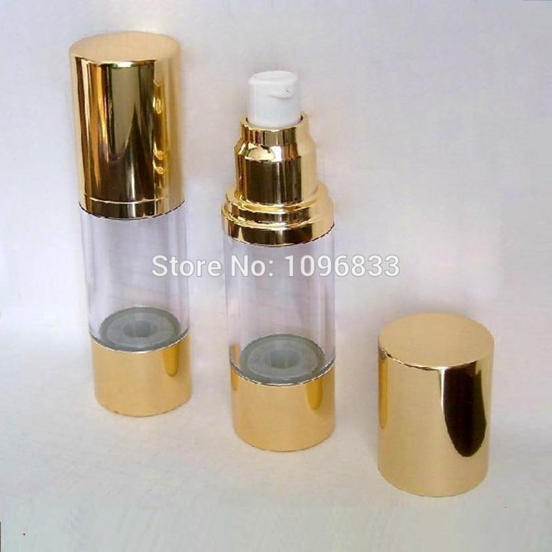 15ML 30ML 50ML botella sin aire de oro, esencia cosmética envasado de loción frasco, botella con bomba de vacío, 30 unids/lote