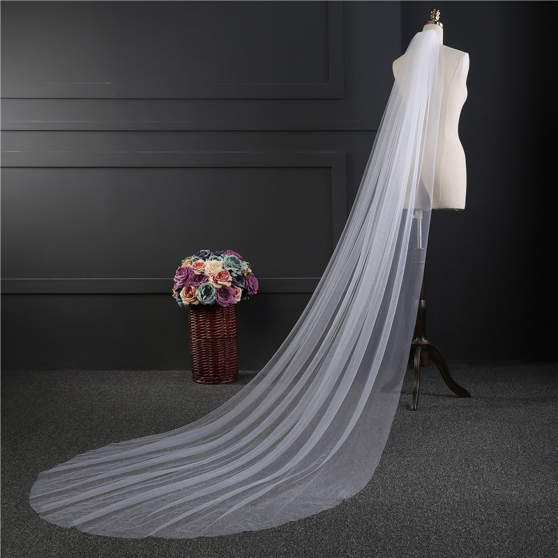NZUK cheap Real Photos 3M or 2M White/Ivory Wedding Veil One-layer long Bridal Veil Head Veil Wedding Accessories Hot Sell