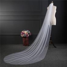 NZUK-velo de novia largo de una capa, accesorio de boda, fotos reales baratas, 3M o 2M, Blanco/Marfil, gran oferta