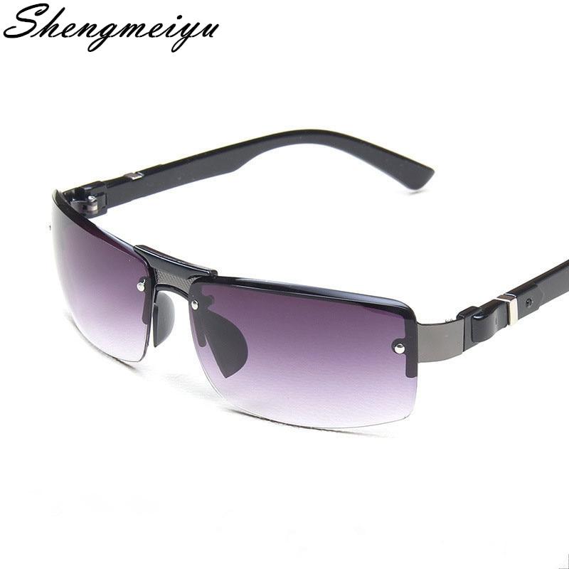 New Classic Rimless Metal Sunglasses Men Retro Brand Sport Sunglasses Double Bridge Gradient Grey Le