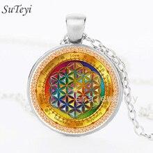SUTEYI Vintage Statement Long Necklace Mandala Flower Of Life Glass Cabochon Pendant Bronze Chain Buddhism Necklaces Jewelry
