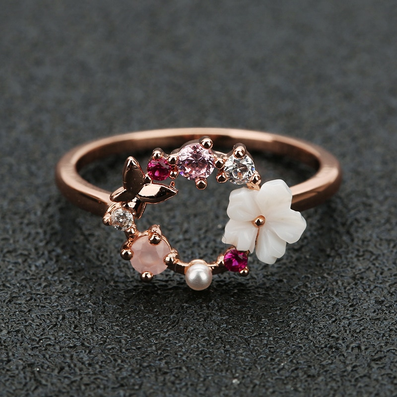 Anillos de boda con diseño creativo de mariposa y flores de cristal para dedo para mujer, anillo de oro rosa con circonita Glamour, regalo para niñas, joyería Bijoux