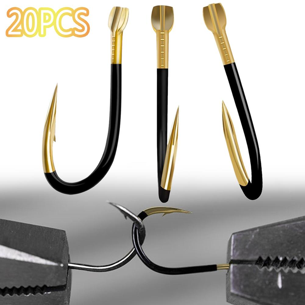 20 Uds. Anzuelos de pesca de aleación de titanio, anzuelo con púas, soporte para cebo de gusano, anzuelos para pesca, aparejos, suministro accesorios herramientas