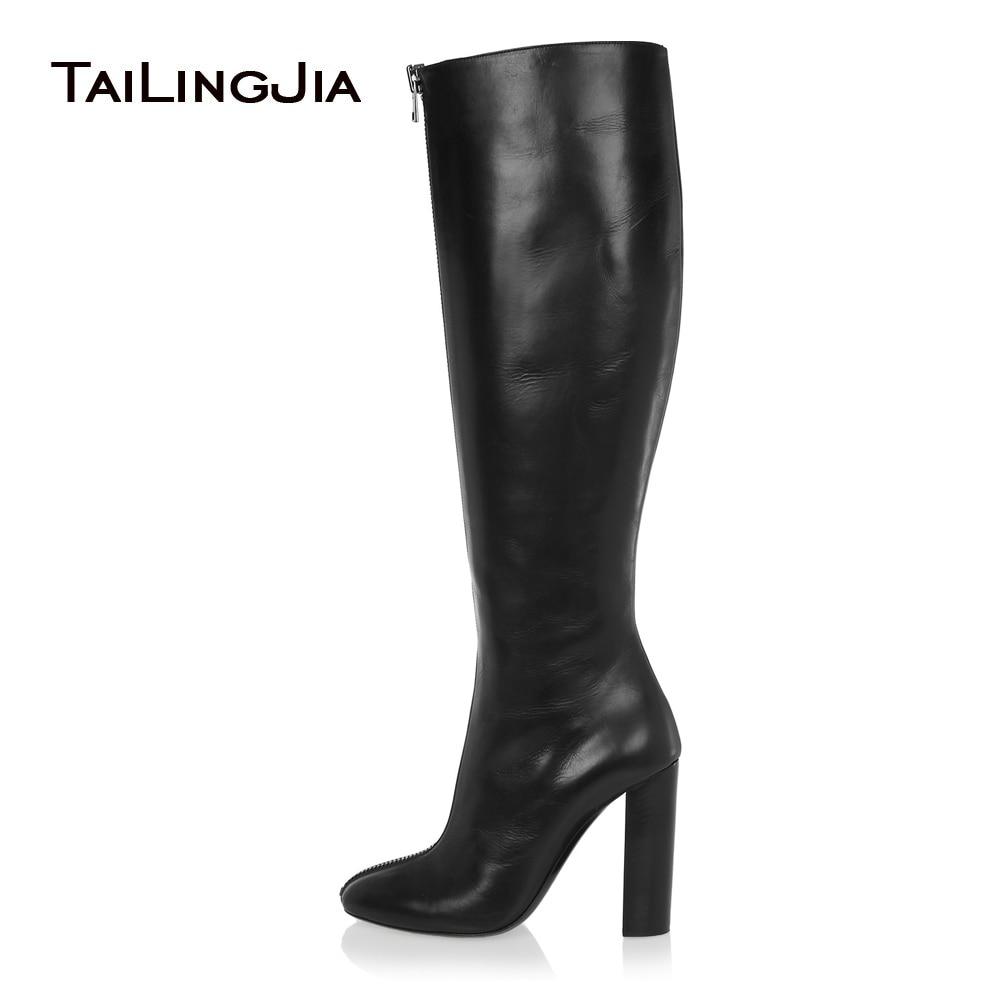2021 نساء أسود حذاء برقبة للركبة مستدير تو صندل بكعب مكتنز الجبهة زيبر عالية الكعب أنيق طويل أحذية السيدات أحذية الشتاء حجم كبير