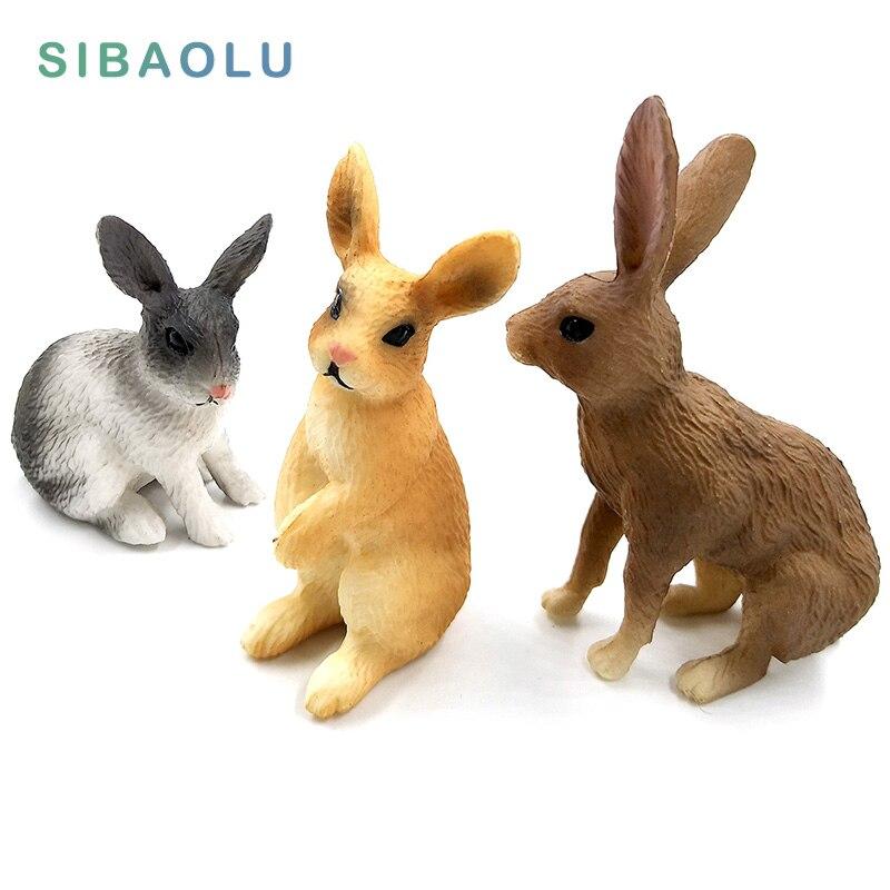 Simulación de mini conejo figura de animal en miniatura estatuilla de liebre decoración del hogar Accesorios de decoración de jardín de hadas estatua moderna