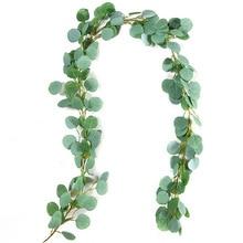 1m Artificial Silk Hanging Eucalyptus Long Vine Rattan Wedding Party Artificial Fake Plants Ivy Wreath Leaves Vine Decorations