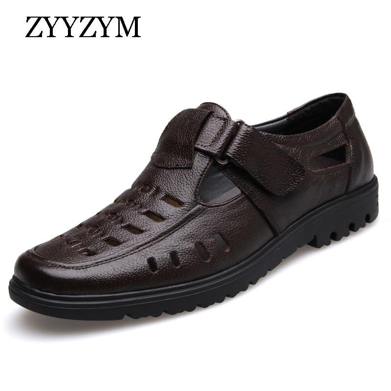 ZYYZYM الرجال الصنادل 2020 الصيف أحذية جديدة جلد طبيعي عالية الجودة حذاء رجالي كاجوال الذكور ماركة الصنادل عدم الانزلاق حجم كبير