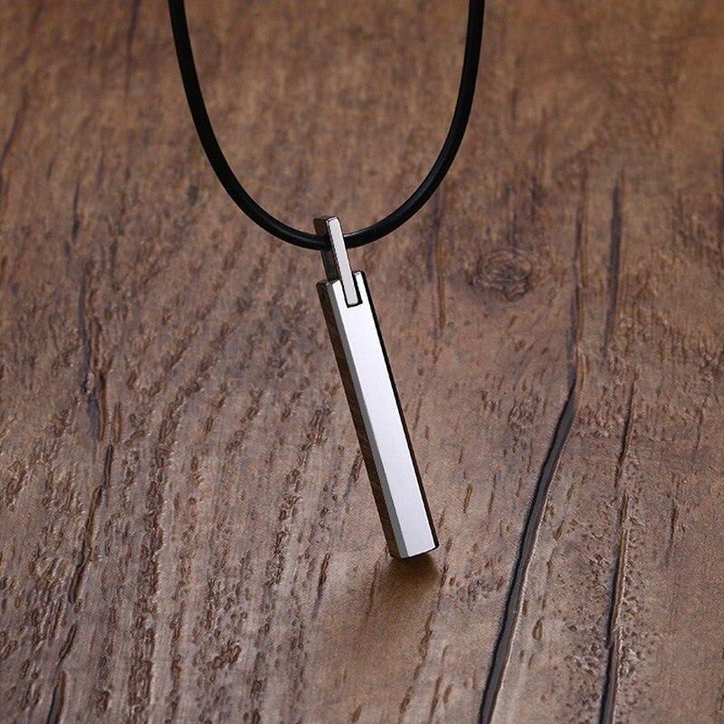 Мужской барный чокер, вольфрамовый твердосплавный столб, подвеска с черным резиновым шнуром, ожерелье, ожерелье, мужское украшение, 20 дюймов