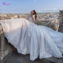 Fsuzwel nouveau luxe Appliques Court Train a-ligne robes de mariée 2020 mode encolure dégagée à lacets princesse robes de mariée grande taille