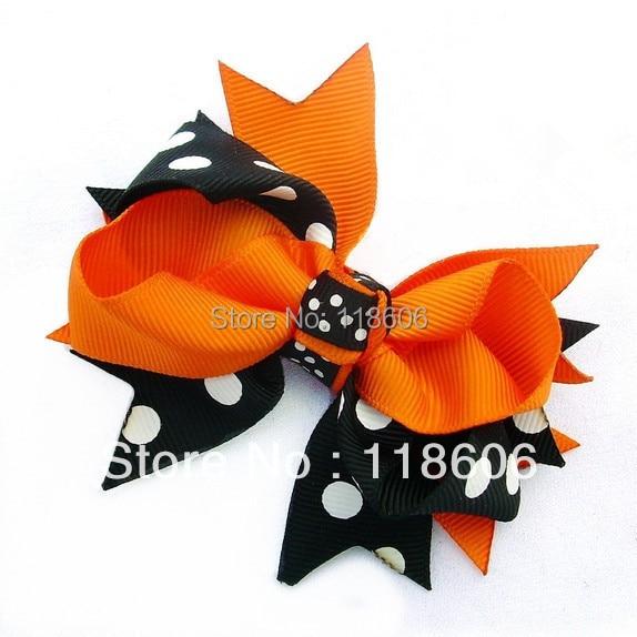 "50PCS/lot 4"" Fall Harvest  Chunky Ribbon Hair Bows Halloween Day Free Shipping"