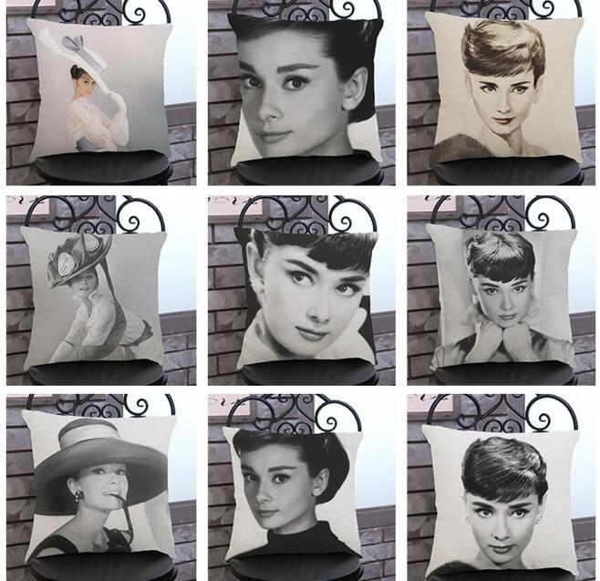 New Audrey Hepburn famous person black printed linen cushion cover Cushion sofa bed car home Dec wholesale FG118