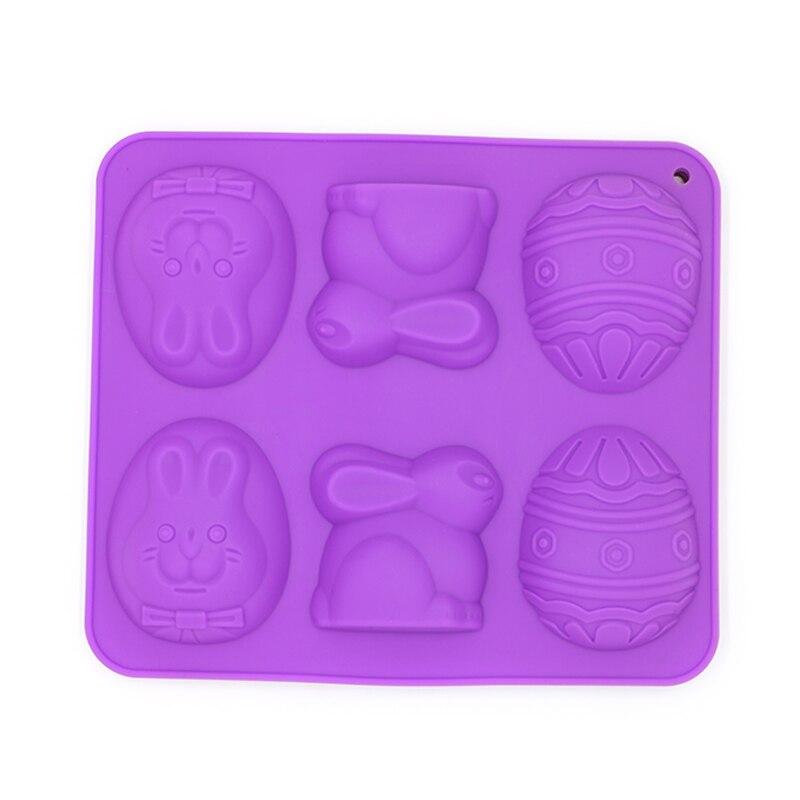 Molde grande de silicona para pastel de huevo de conejo de 6 cavidades DIY molde para hornear gelatina y chocolate molde para hornear tartas rojas oscuras y moradas para huevos de Pascua
