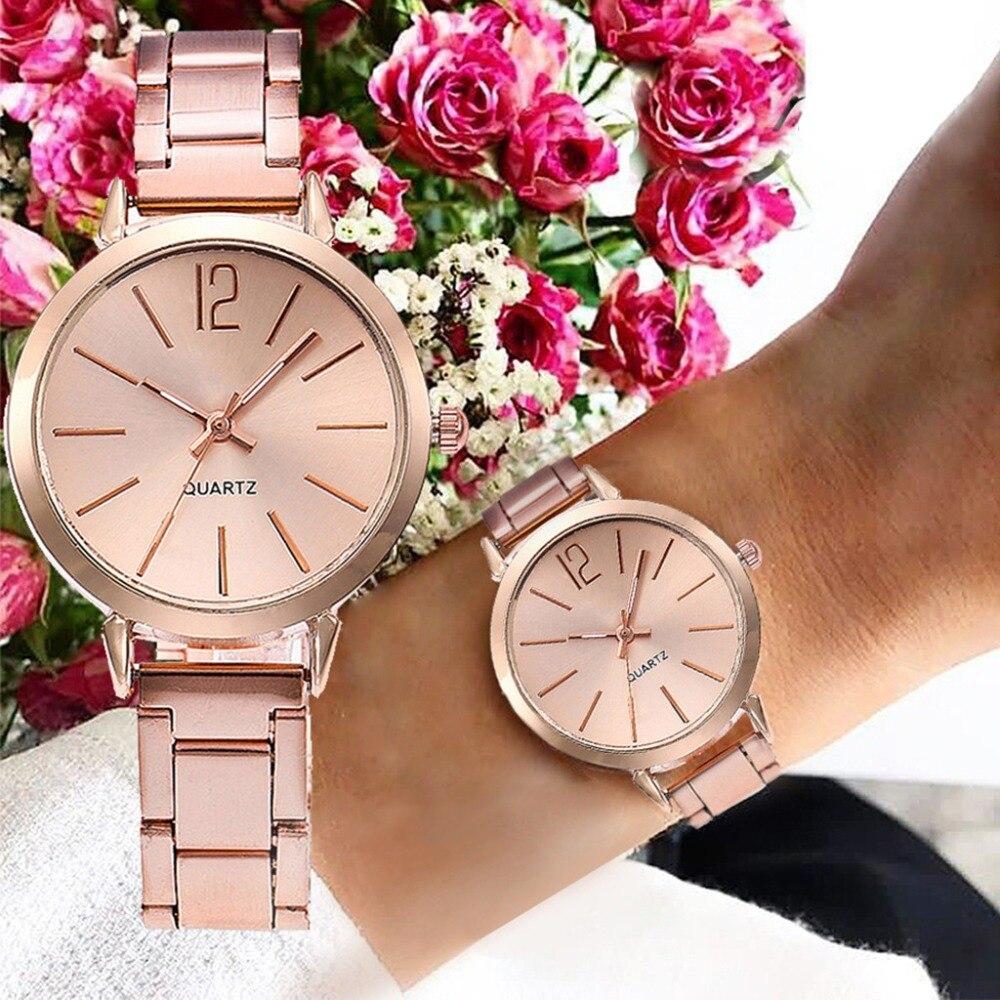 часы женские Womens Watches Women Crystal Stainless Steel Analog Quartz Wrist Watch Brace
