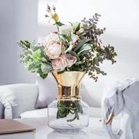 european hydroponic vase decoration living room flower arrangement glass transparent fresh golden open vase
