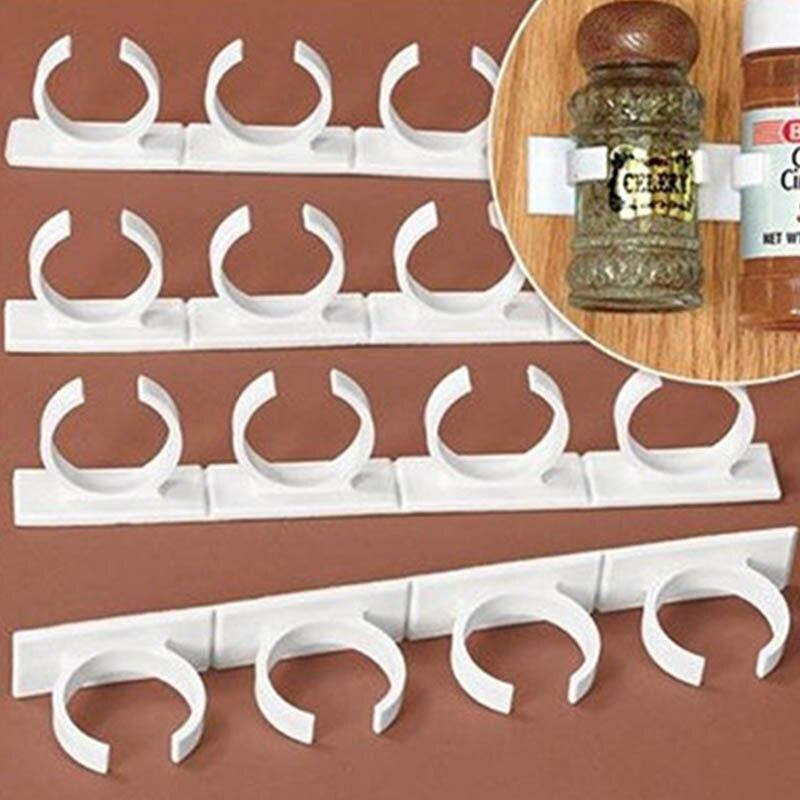 Nueva herramienta de almacenamiento de latas de cocina 20 Clips de especias para puertas de armarios Clips organizador estante tienda N especias pinza para especias tiras con Clips HR