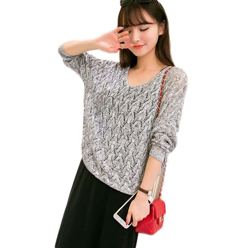 Летний пуловер с рукавами «летучая мышь», сетчатый трикотажный джемпер, Женский пуловер оверсайз, топы, 2019