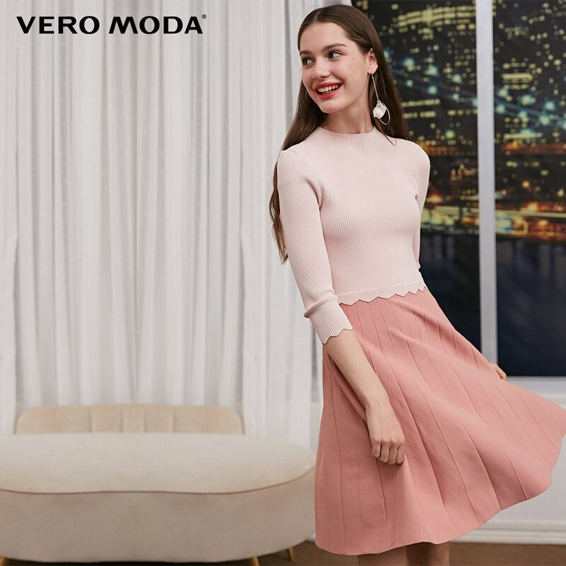 Vero Moda 2019 las nuevas mujeres de empalmado escote redondo 3/4 Vestido de manga   318346520