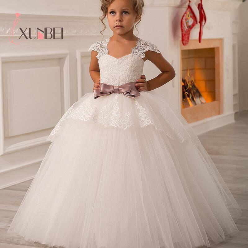 Bonito laço branco flor menina vestido sem mangas com decote em v com arco rosa princesa menina crianças vestidos de noite comunhão vestido 2020 verão