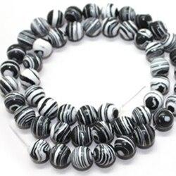 Trendy black white stripe turquesa multicolor japser 8mm rainbow rodada gems solta pérolas jóias diy fazer 15 polegada F039GS