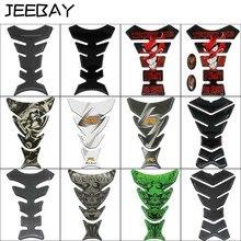 JEEBAY-autocollants de réservoir de moto   Autocollant de nouvelle voiture en Fiber de carbone 3D, Logo de crâne du diable, protection du réservoir de carburant, accessoires de course de moto