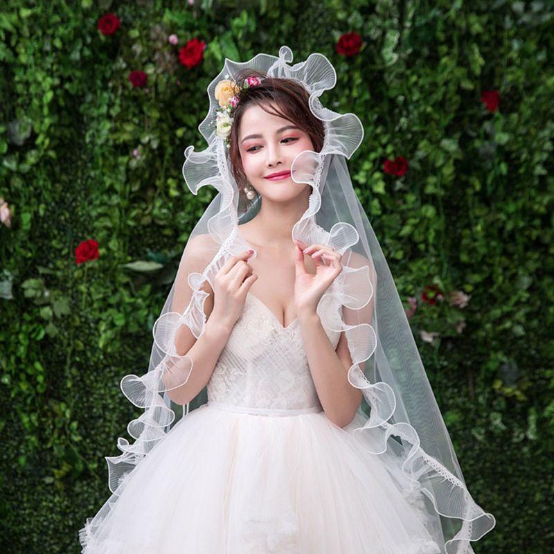 Simple Versatile New Wedding Dress Veil Wrinkle Yarn Lace Single Layer Bride Head Veils Women Headdress