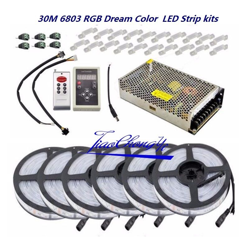 5050 RGB Dream Color 6803 Светодиодная лента + IC 6803 RF пульт дистанционного управления + адаптер питания