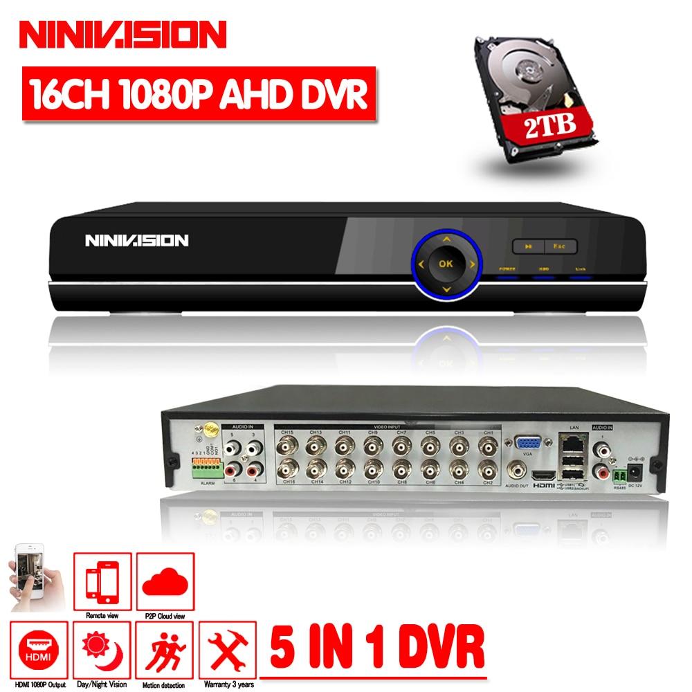 NINIVISION 16CH 1080P HDMI H.264 estándar HD AHD grabadora de vídeo de Audio RS485 PTZ CCTV DVR de 16 canales analógicos para AHD cámara IP