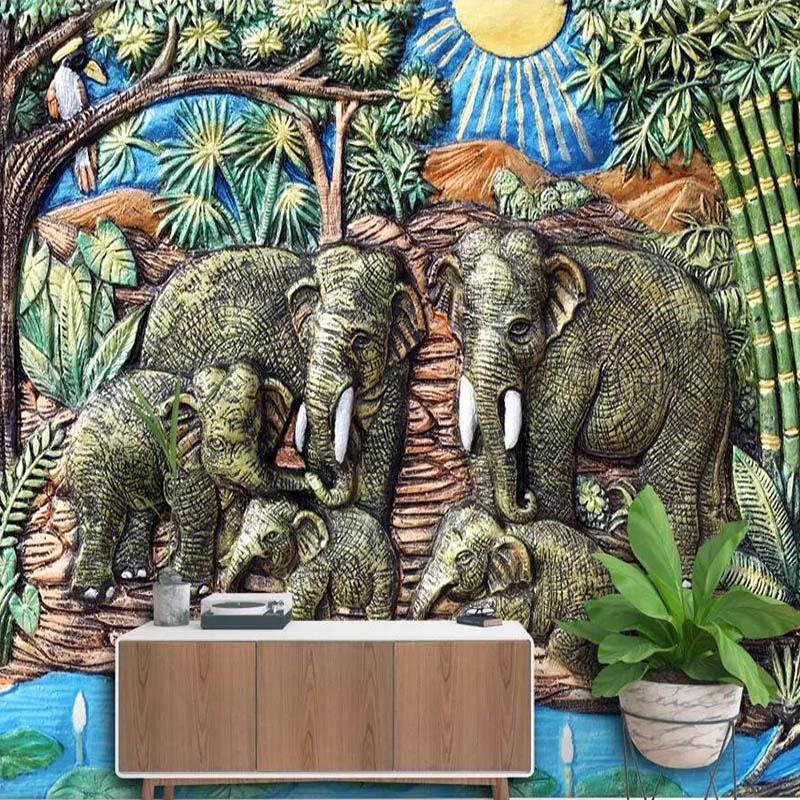 Papel tapiz de elefante abstracto de estilo indio con papel pintado con foto 3D personalizado, mural temático para restaurante, dormitorio, mural, papel de pared