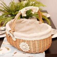 Panier de rangement en osier pour pique-nique   Boîte de rangement pour Snacks, panier à thé en rotin et en tissu, panier de rangement en bois avec couvercle