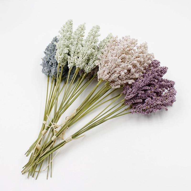 6 pçs/buquê 30cm flor artificial baunilha planta casamento decoração de natal para casa diy scrapbook acessórios artesanato falso presente
