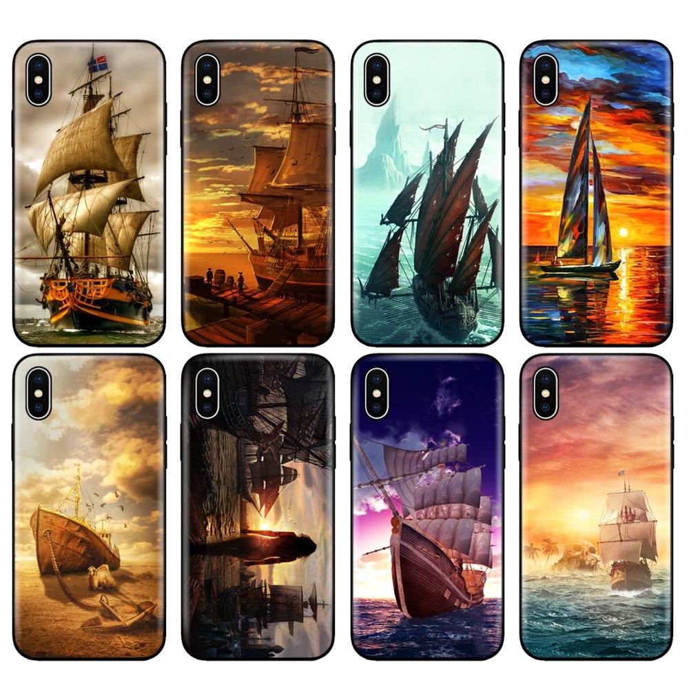 Preto tpu caso para iphone 5 5S se 6s 7 8 plus x 10 silicone capa para iphone xr xs 11 pro max caso barco à vela pirata
