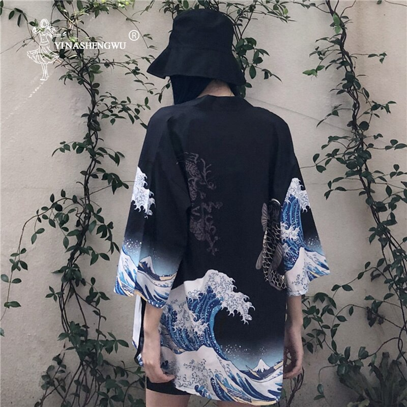 Ropa de calle Harajuku Kimono japonés cárdigan mujeres Yukata Geisha Kimono Obi camisa asiática japonesa chaqueta de gasa
