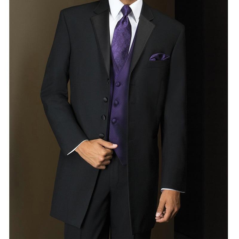 Long Black Mens Suits for Prom Wedding 3 Piece Groom Tuxedos Male Suit Set Jacket Pants Purple Vest Mens Stage Clothes Latest