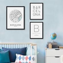 Barcelona Print City Map Poster Zwart Wit Typografie Schilderen Modern Minimalisme Muur Art Canvas Spaans Nordic Home Decor