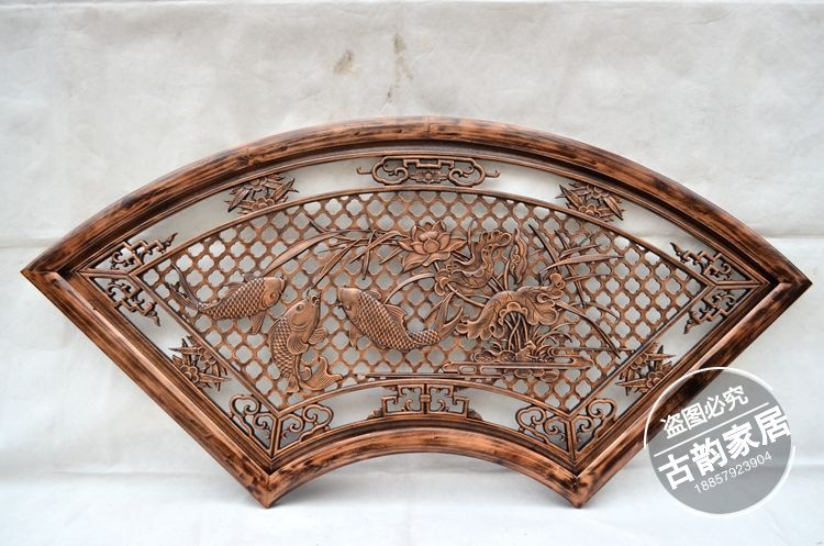 Madera tallada colgante de alcancía madera caoba ventilador colgante hueco tallado madera mural decoración sala de estar colgante
