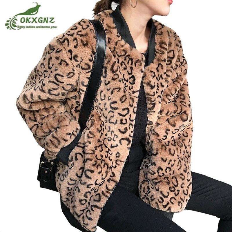 Invierno 2020 nueva Sudadera de felpa de conejo coreano para mujer, abrigo holgado y grueso de terciopelo, abrigo de Piel de leopardo, parkas femeninas