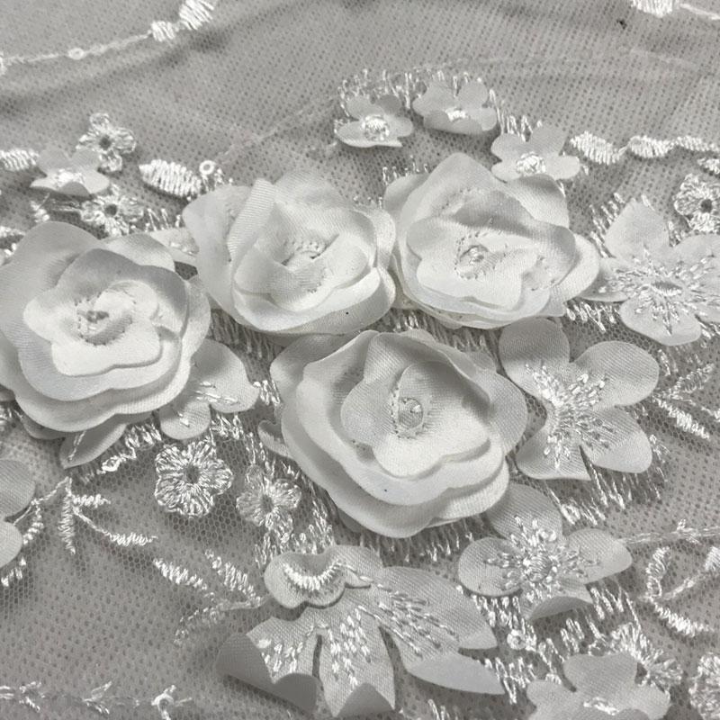 Blanco, 120 CM de ancho, Appique bordado Soluble en agua, red de tela de encaje de la boda vestido de noche abrigo L016