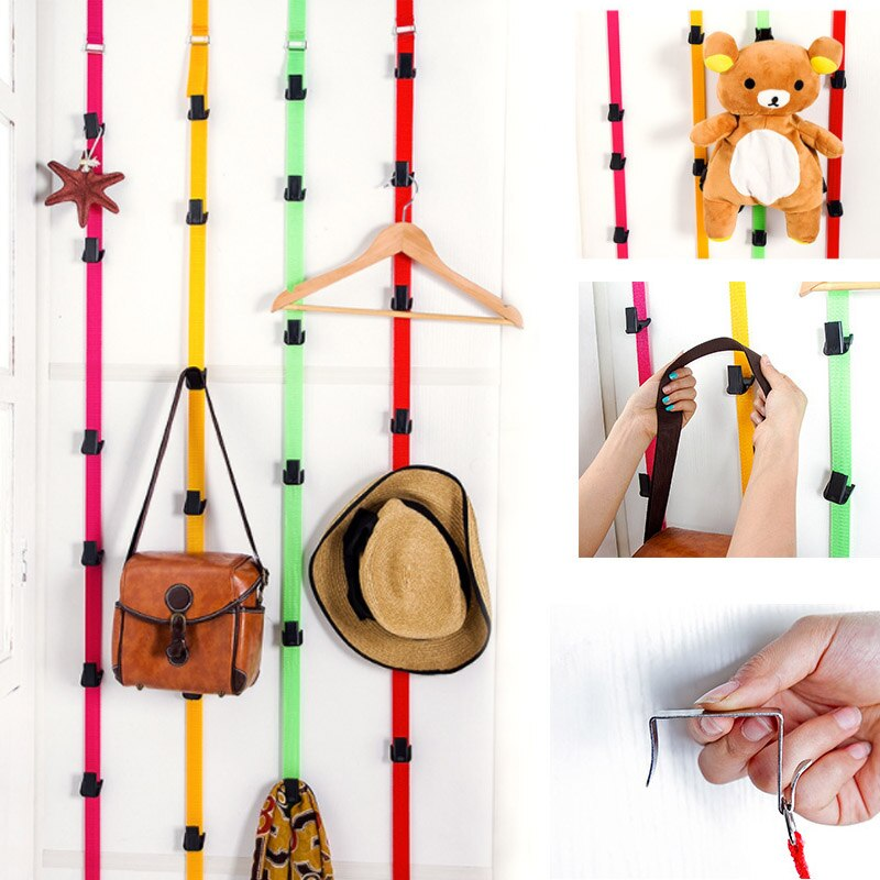 Multipurpose Stainless Steel Hook Back Hook Over Door Straps Hanger Nylon Belt Coat Rack Organizer Hat Bag Clothes Key 8 Hooks