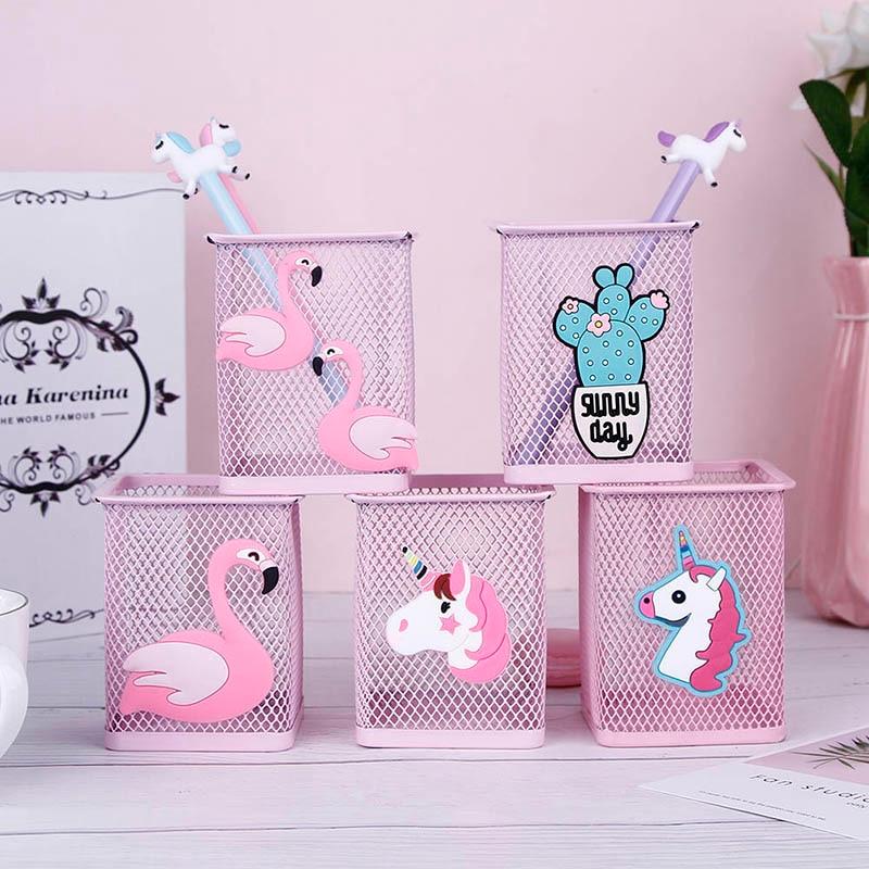Kawaii Pink Unicorn Cactus Flamingo 1 Pcs Office Home Storage Box Manage Case Pencil Pen Holder Stand Student Stationery
