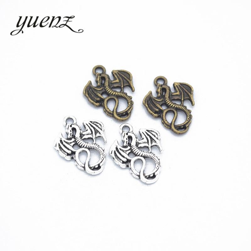 YuenZ 15 Uds antiguo plata bronce de aleación de Color pequeño dragón encanto collares y pulseras que ajustan los resultados de la joyería de DIY 21*16mm D803