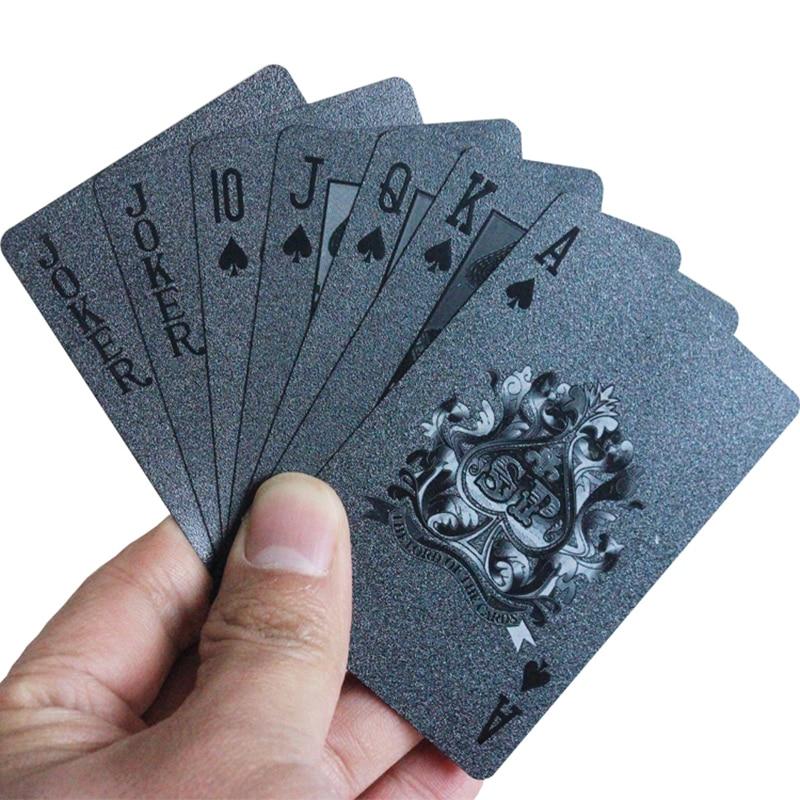 Cartes de Poker noires 3d-print diamant Porker Deck imperméable en plastique PVC Casino cartes à jouer 87*57mm