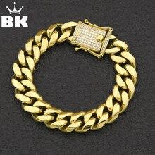Bracelet lien cubain avec bordure en acier inoxydable 12mm/14mm en acier inoxydable, plaqué or, argent, HipHop, Micro pavé, Bracelet Miami pour hommes, 7 pouces/8 pouces